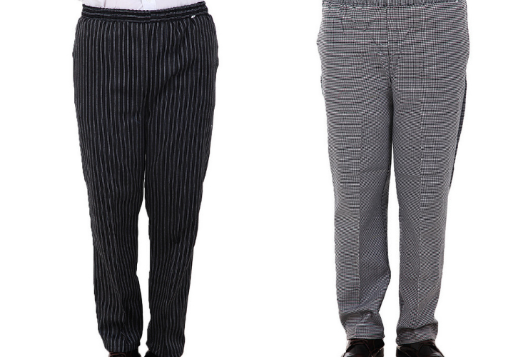 Waiter Waitress Chef Thin-style Stripe Pants Elastic-band Waist Hotel Workwear