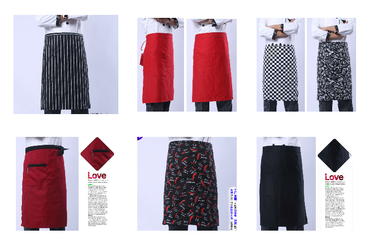 Many Styles of Waiter Waitress Chef Half-body Pure Color Stripe Aprons