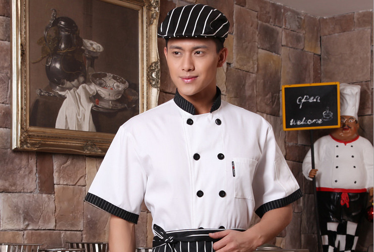 Hotel Restaurant Kitchen Workwear Short-sleeve Chef Cook Uniform Pastry Chef Workclothes