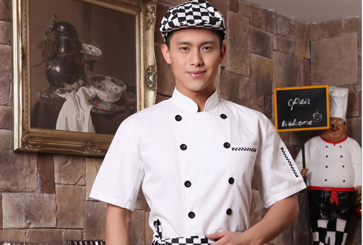 Hotel Restaurant Kitchen Workwear Short-sleeve Chef Cook Uniform