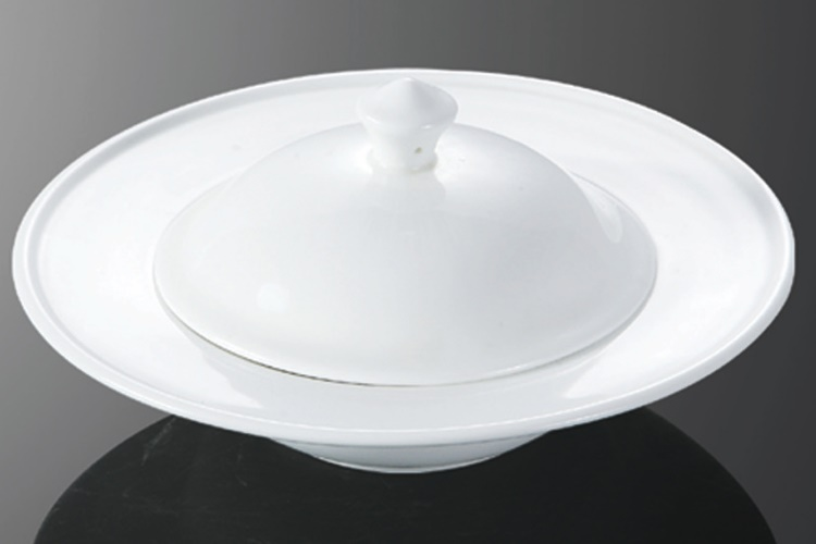 Ceramics 9.25-inch Tall-body UFO-shaped Fin Bowl (NOT including Lid)