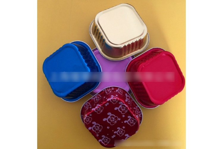 (Box) Disposable Square Foil Cup with Cover Foil Box High-temperature Reisistant