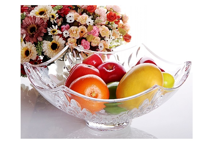 Crystal Glass Fruit Bowl Plate