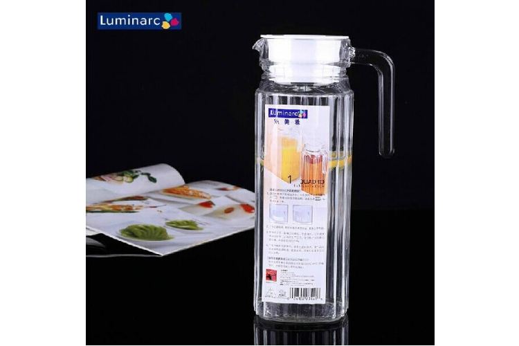 Luminarc 1.1L Glass Water Kettle Cold Water Fruit Juice Stripe Transparent Kettle