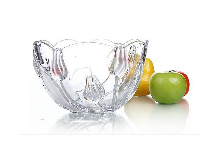 High-class Pink Glass Fruit Bowl Fruit Plate Vase Creative Stylish Fruit Plate