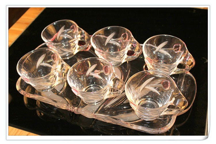Crystal Glass Drinkware Cup With Tray 6-piece Set