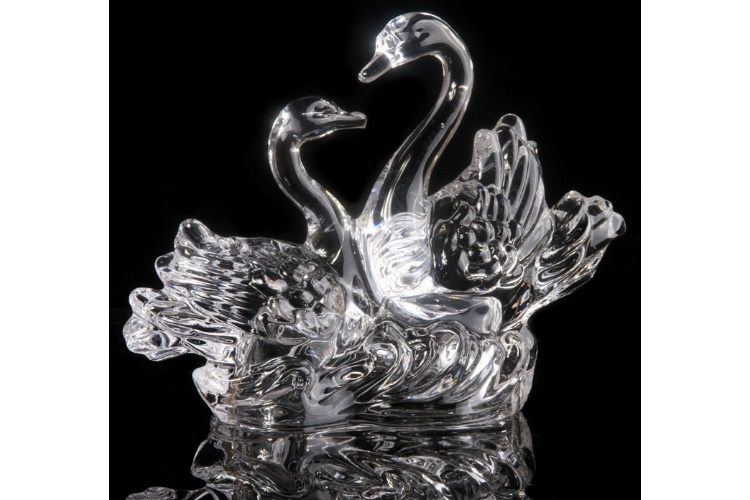 Crystal Glass Decorations Romantic Swan Wedding Gift