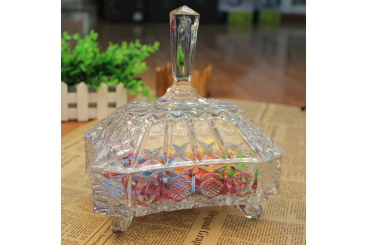 Rectangular Crystal Glass Can Candies Container