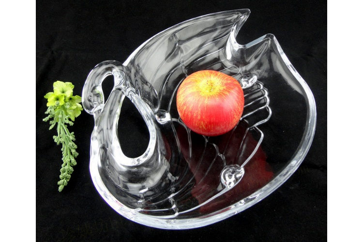 Swan Crystal Glass Fruit Plate Nuts Dried Fruit Plate
