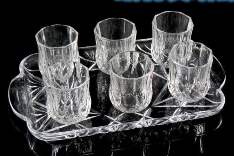Diamond Drinkware Set Glass Tray 7 Piece Set