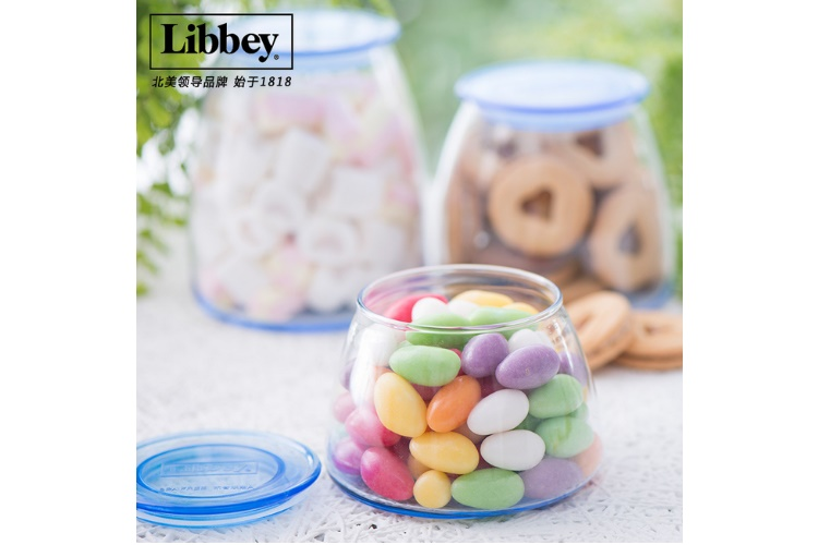US Libbey Container Blue Transparent Glass Jar Sealed MoistureproofContainer for Candies Nut