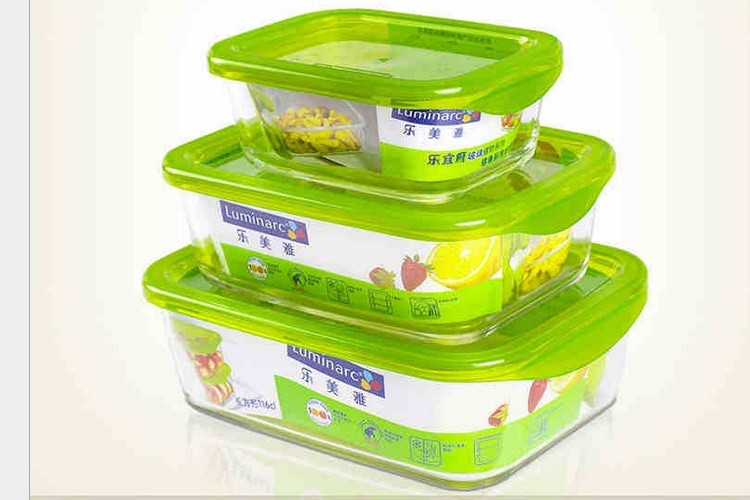 Luminarc Tempered Glass Rectangular / Square Seal Container Food Container Lunch Box 3 Piece Set