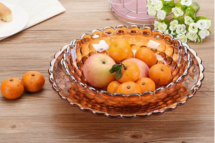Glass Fruit Plate Euro-style Fruit Bowl Creative Candies Nuts Plate