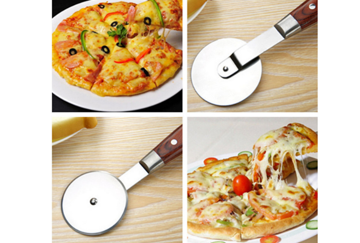 Colored Wooden Handle 304 Stainless Steel Pizza Rolling Knife Pizza Cutter
