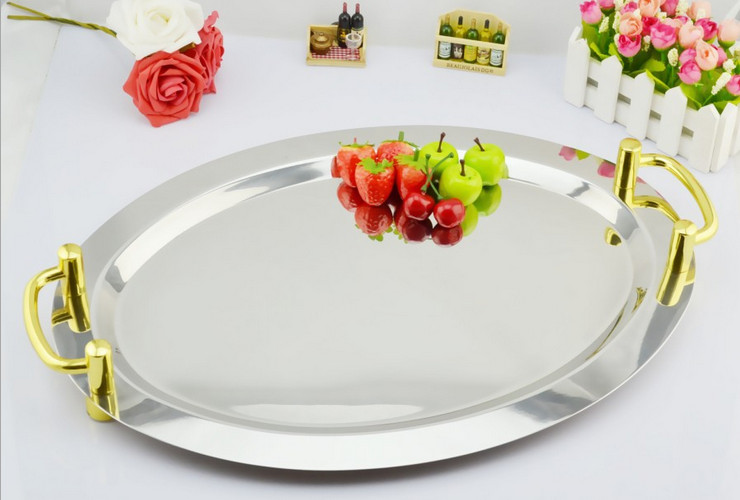 Stainless Steel Oval Mirror Plate Hotel Use Fruit Plate Buffet Plate