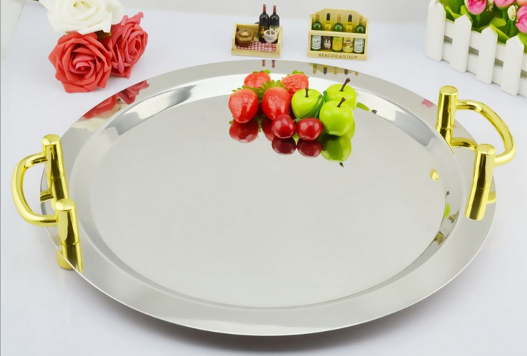 Stainless Steel Round Mirror Plate Hotel Use Fruit Plate Buffet Plate