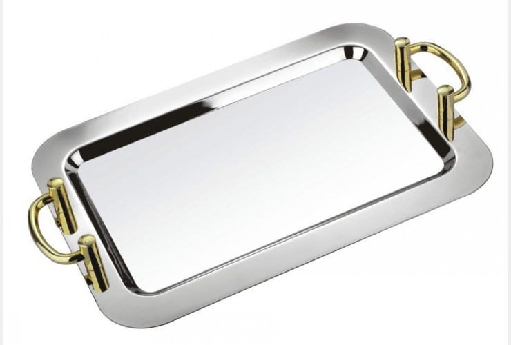Stainless Steel Square Mirror Plate Hotel Use Fruit Plate Buffet Plate