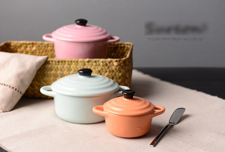 Color Glazed Creative Pudding Jelly Double-Ear Ceramics Pot