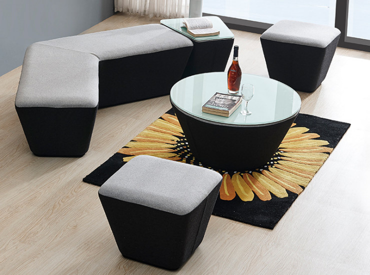 Fashion Creative Fabric Sofa Simple Office Reception Room Coffee Table Combination Leisure Mall Shop Stool (Shipping & Installation Fee To Be Quoted Separately)