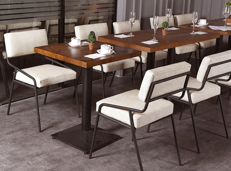 Fast Food Tables Chairs Combo Wholesale Tea Shop Restaurant Tables Chairs Dessert Shop Dining Chairs Back (Shipping Fee Quoted Separately)