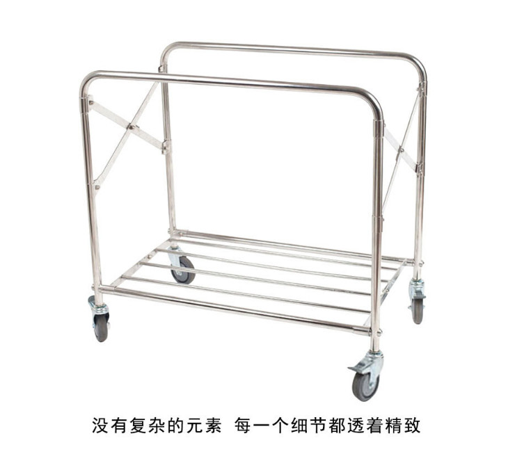 Folding Linen Car Square Cleaning Service Car Stainless Steel Hotel Hand Push Four Wheel Storage Car Hotel Room (Self Installation)