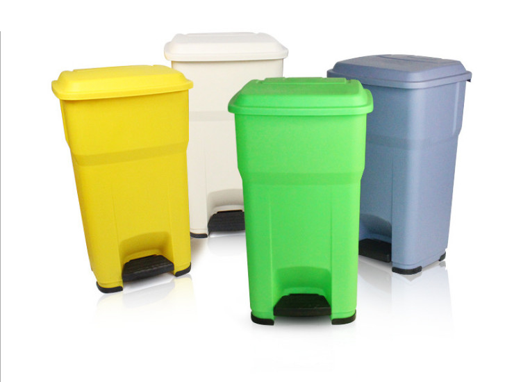Foot Trash Large Trash Can Garbage Bin Plastic Sanitary Trash Outdoor Sanitation Property Trash 35L 55L