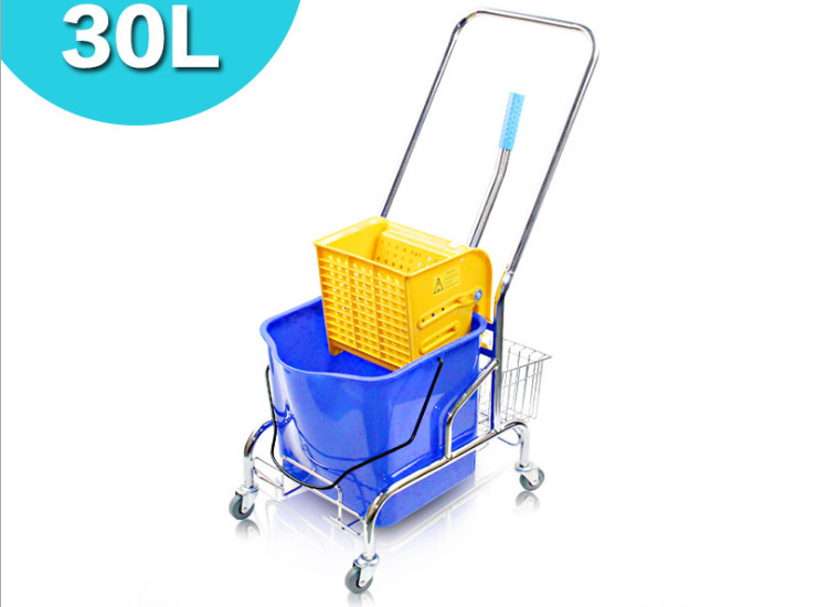Frame-Type Single-Barrel Squeezed Water Truck Hotel Plastic Mop Thickening Squeeze Water Truck Mop Bucket