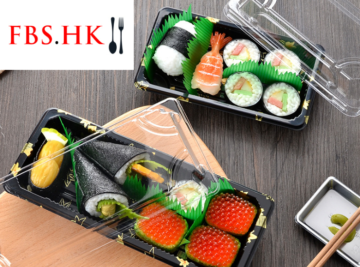 (Ready Sushi Packaging Takeaway Box In Stock) (Box) Gold Leaf Printed Sushi Packaging Box Disposable Japanese Plastic Takeout Salmon Sashimi Box (Different Sizes)