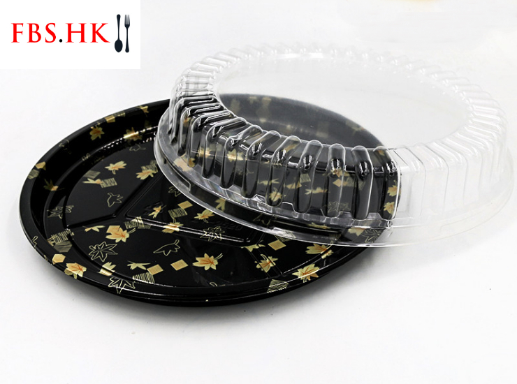 (Ready Sushi Packaging Takeaway Box In Stock) (Box) Gold Leaf Printed Sushi Packing Round Box Disposable Japanese Plastic Takeout Salmon Sashimi Round Box 25/32cm