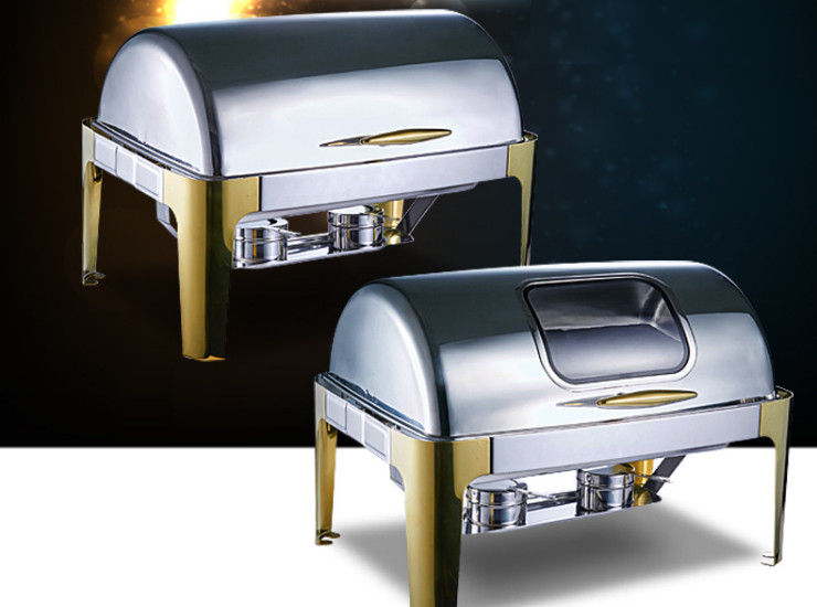 Gold-Plated Stainless Steel Visual Full Clam Square Buffet Heating Insulation Buffy Hotel Electric Tableware Stove