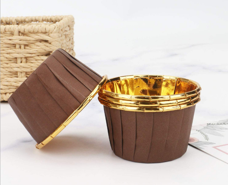 (Box/3000Pcs) Golden Silver Cake Paper Cup Single-Sided Aluminum Foil Crimping Paper Cup Baking Resistant High Temperature Muffin Muffin Paper Holder Rolling Cup (Door Delivery Included)