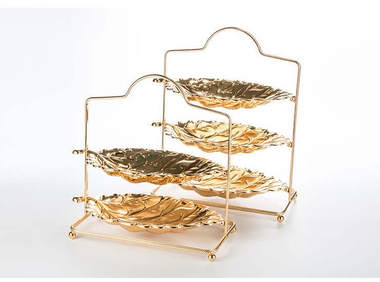Golden Two-Layer Snack Stand Whole Stainless Steel Plated Three-Layer Fruit Plate Personality Leaf Shape Dessert Tableware