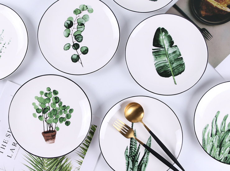 Green Plant Ceramic Plate Creative Cartoon Fruit Plate Home Western Steak Dish Dish Plate Set Ceramic Tableware