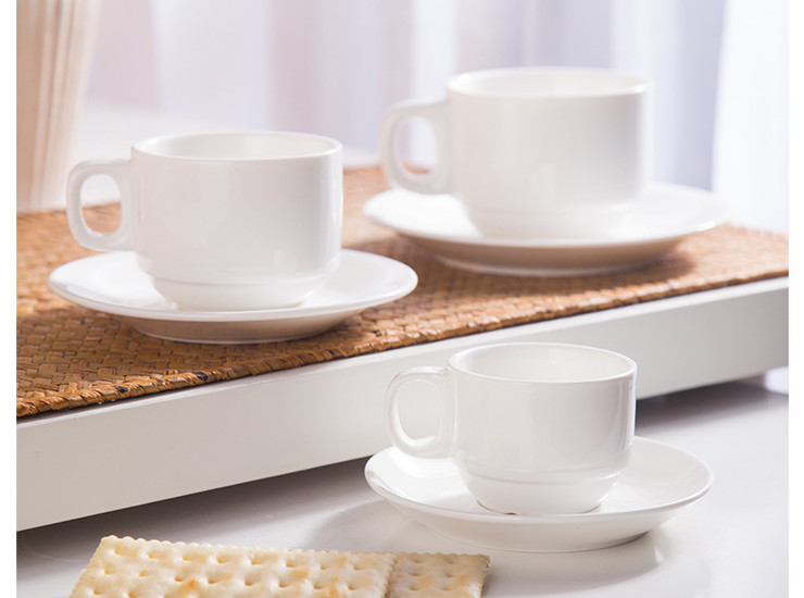 (Have Samples) Low Bone China Ceramic Coffee Cup Western Restaurant Special Bone China Coffee Cup With Cup And Saucer