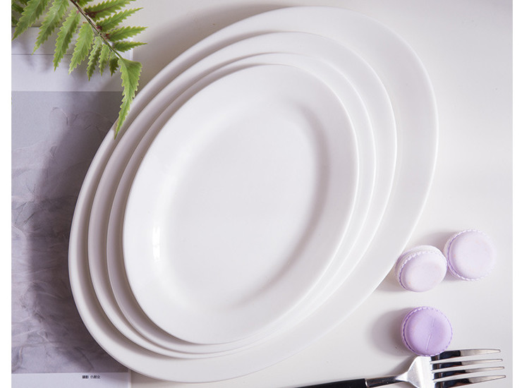 (Have Samples) Low Bone China Ceramic Fish Plate Steamed Fish Plate Seafood Plate Sashimi Plate Large Size Fish Plate Heat Resistant Bone China Rice Dish Small Fried Dish