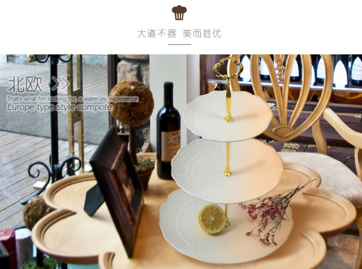 (Have Samples) Low Bone China Ceramic Lotus Flower Relief Dish Nordic Creative Fruit Dish Three Layer Cake Plate