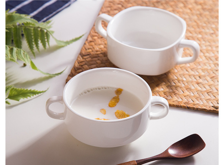 (Have Samples) Low Bone China Ceramic Round Ear Soup Cup Quartet Soup Cup Western Style Soup Cup Hotel Ceramic Western Tableware Pure White Bone China