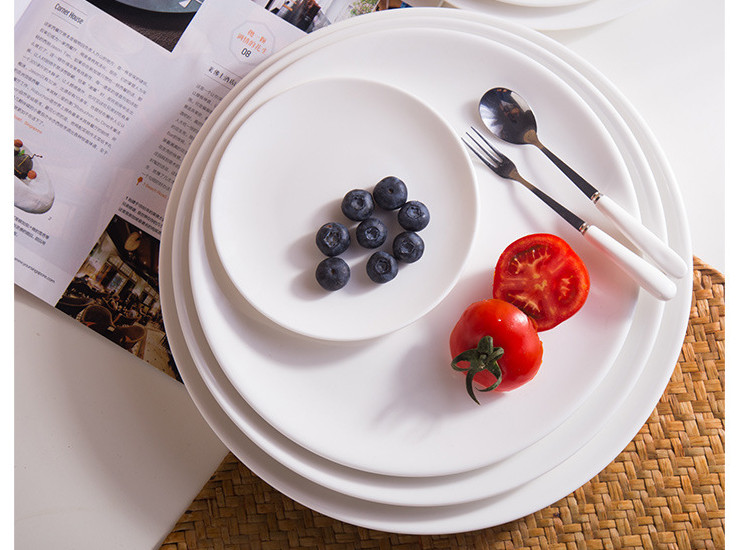 (Have Samples) Low Bone China Ceramic Shallow Disc Moon Moon Plate White Bone China Porcelain Steak Plate Pizza Plate Chinese Plate Chinese Meal Plate