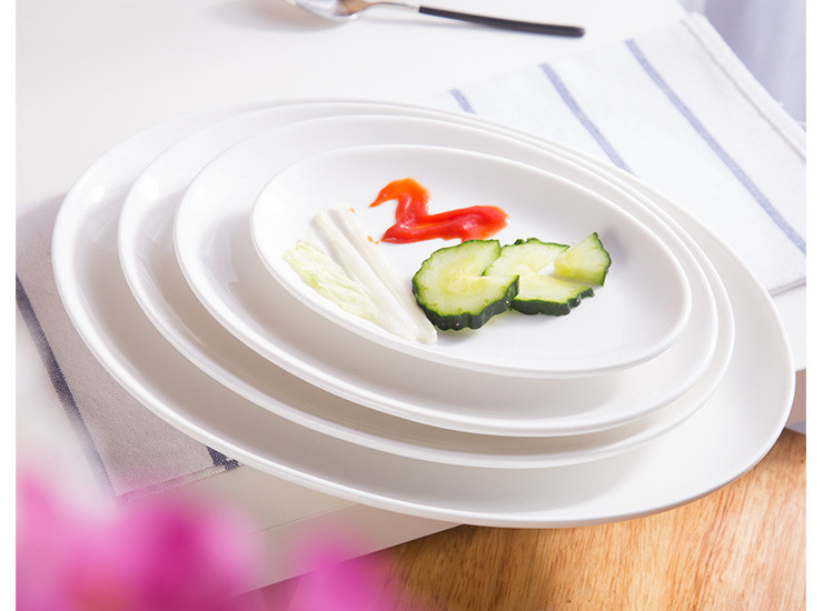 (Have Samples) Low Bone China Ceramic Shallow Fish Plate Oval Plate High Temperature Steamed Vegetable Dish