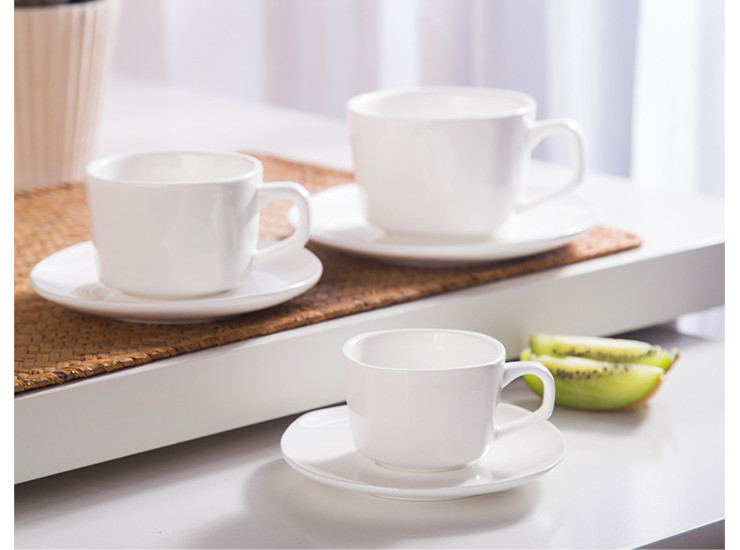 (Have Samples) Low Bone China Ceramic Square Coffee Cup Cafe Western Restaurant Special Bone China
