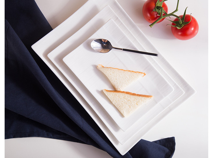(Have Samples) Low Bone China Ceramics Rectangular Bone China String Striped Rectangular Ceramic Dish Fruit Plate Bread Plate Meat Platter