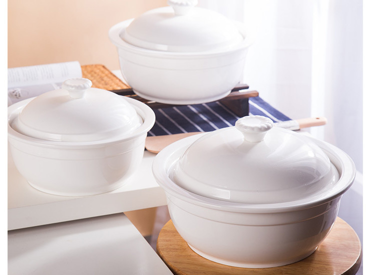 (Have Samples) Low-Bone Porcelain Lid Thick Thickened Soup Soup High-Temperature Large-Capacity Soup Bowl Star Hotel