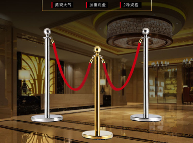 High-End Concierge Pole Lanyard Railing Round Lanyard Railing Seat Titanium Ball 51 Tube Stainless Steel Belt