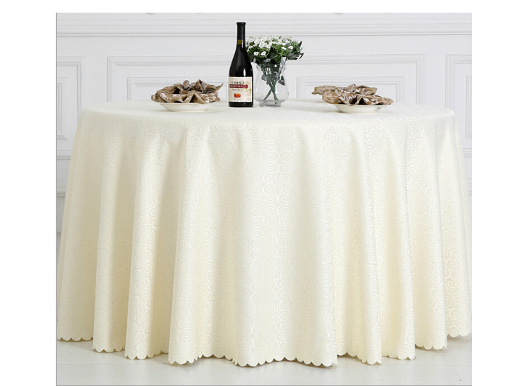 High-End Hotel Restaurant Solid Round Table Cloth Polyester Jacquard Wedding Banquet Table Cloth