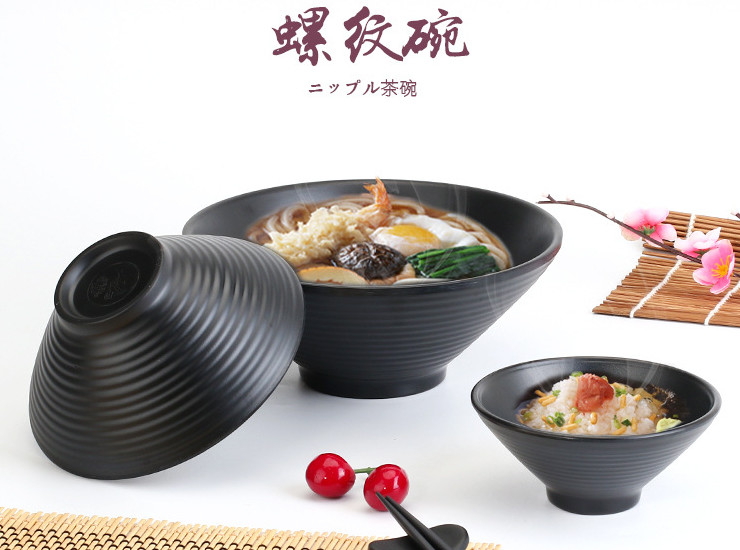 High-Grade A5 Black Matte Bowl Melamine Plastic Soup Bowl Ajisen Ramen Bowl Thread Bowl Japanese And Korean Melamine Tableware