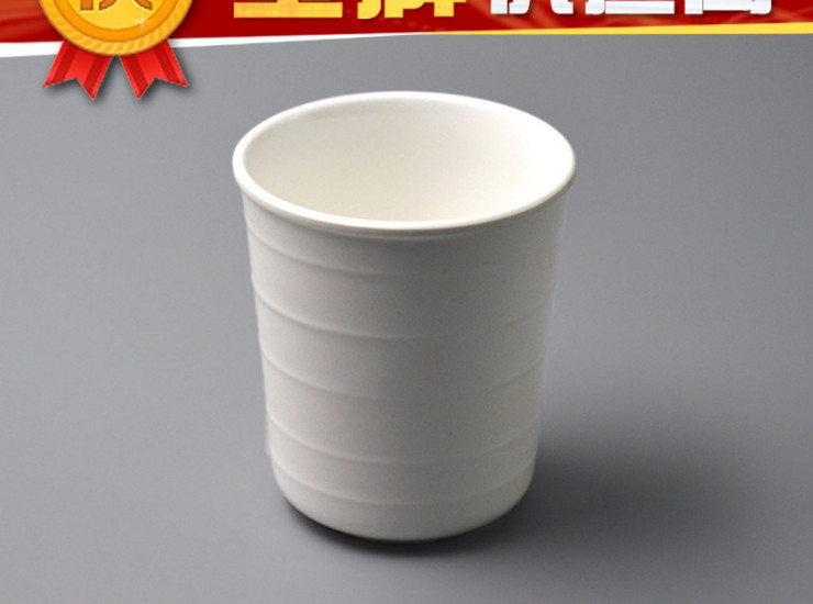 High-Grade A5 Melamine Cup Restaurant Chinese Fast Food White Imitation Porcelain Thread Tea Cup