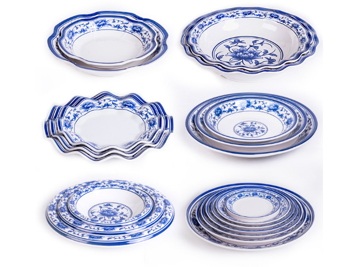 High-Grade Blue And White Porcelain Melamine A5 Tableware Plastic Plate Dish Imitation Porcelain Plate Flat Plate Fish Dish Plate