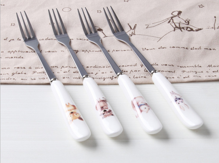 High-Grade Bone China Stainless Steel Fork European-Style Coffee Shop Dedicated Ceramic Handle Dessert Fork High-Grade Bone Porcelain Tableware Cartoon Ceramic Fork