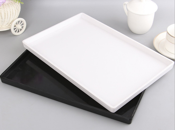 High-Grade Melamine Hotel Room Rectangular Tray Plastic Black Tray