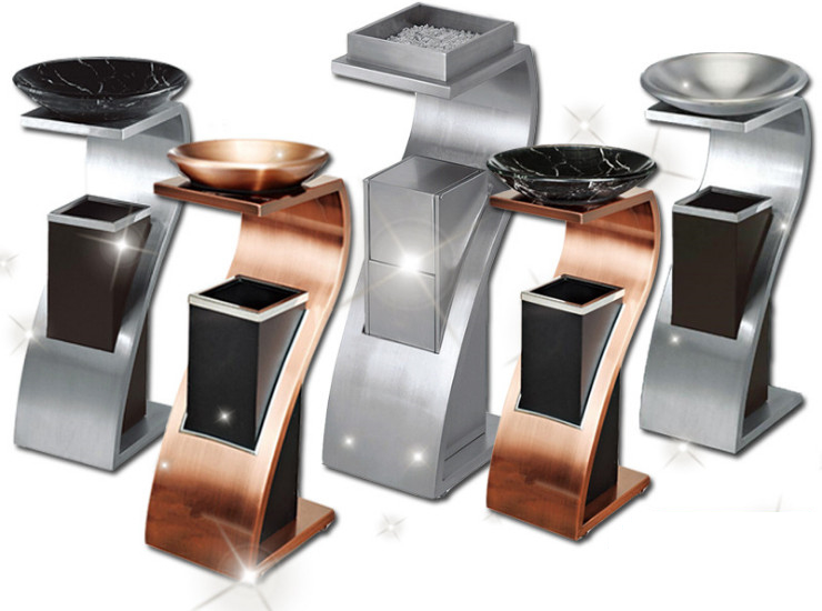 High-Grade Stainless Steel Trash Cans New Concept Trash Hotel Lobby Trash Cans Hotel Club Seat Ash Barrels
